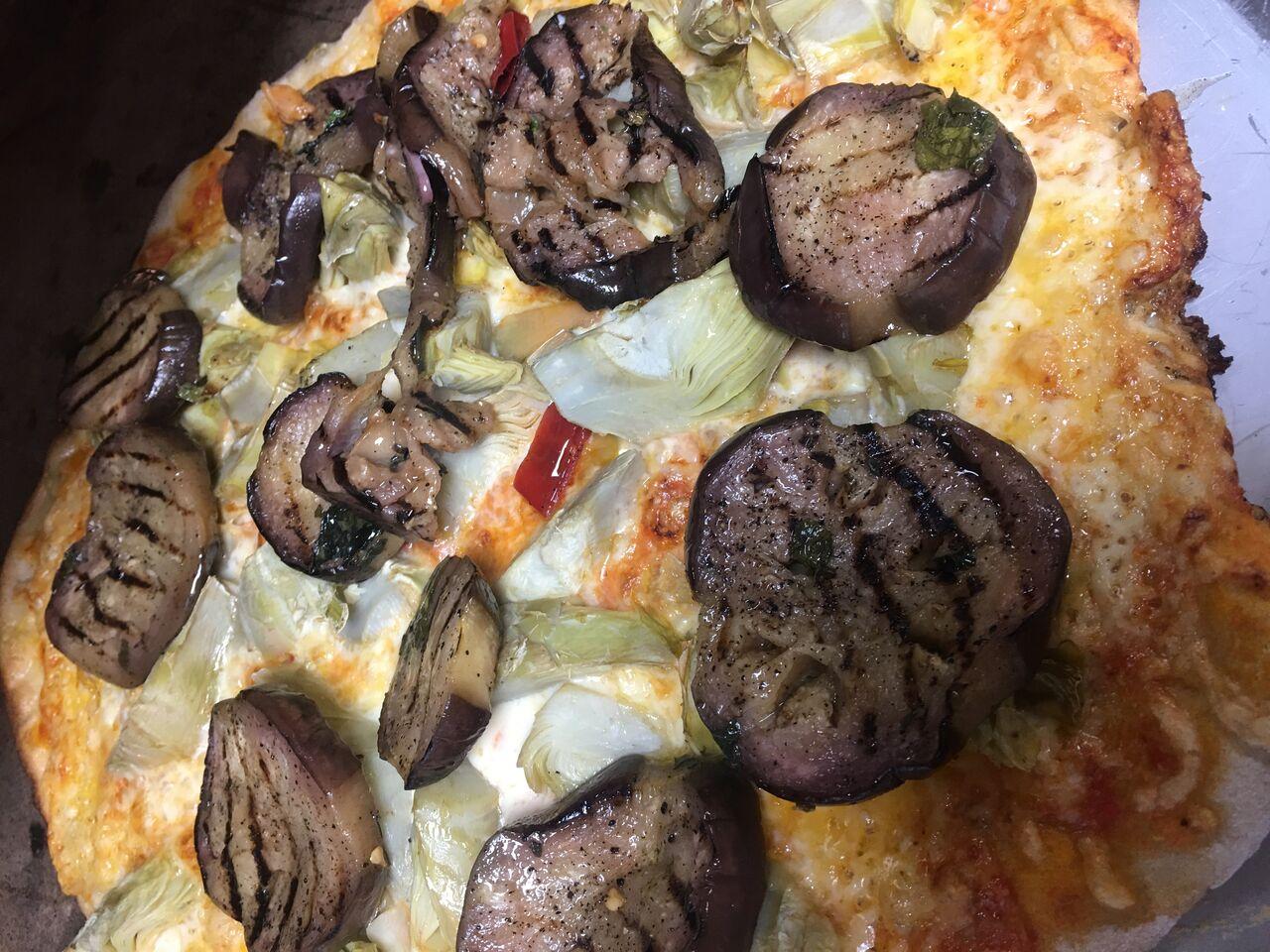 Pizza Aubergine Artischocken