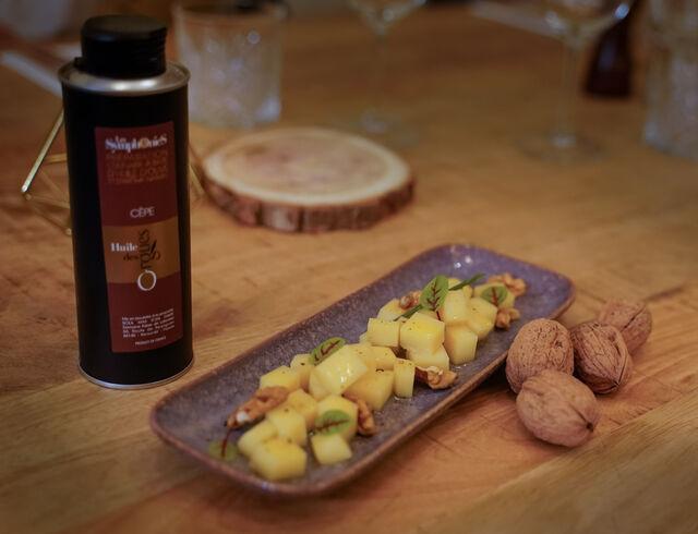 Tartare de Comté 18 mois à l'huile de cèpes et noix fraiches