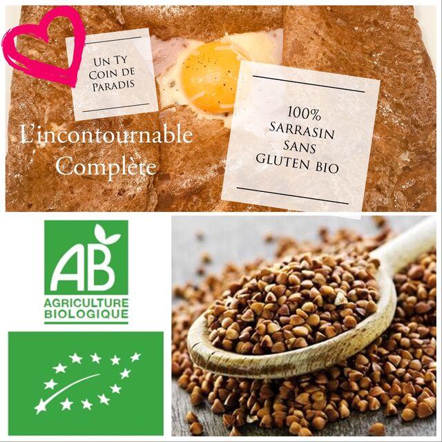 L'incontournable Complète: un sarrasin 100% sans gluten bio, un oeuf bio, le jambon et l'emmental