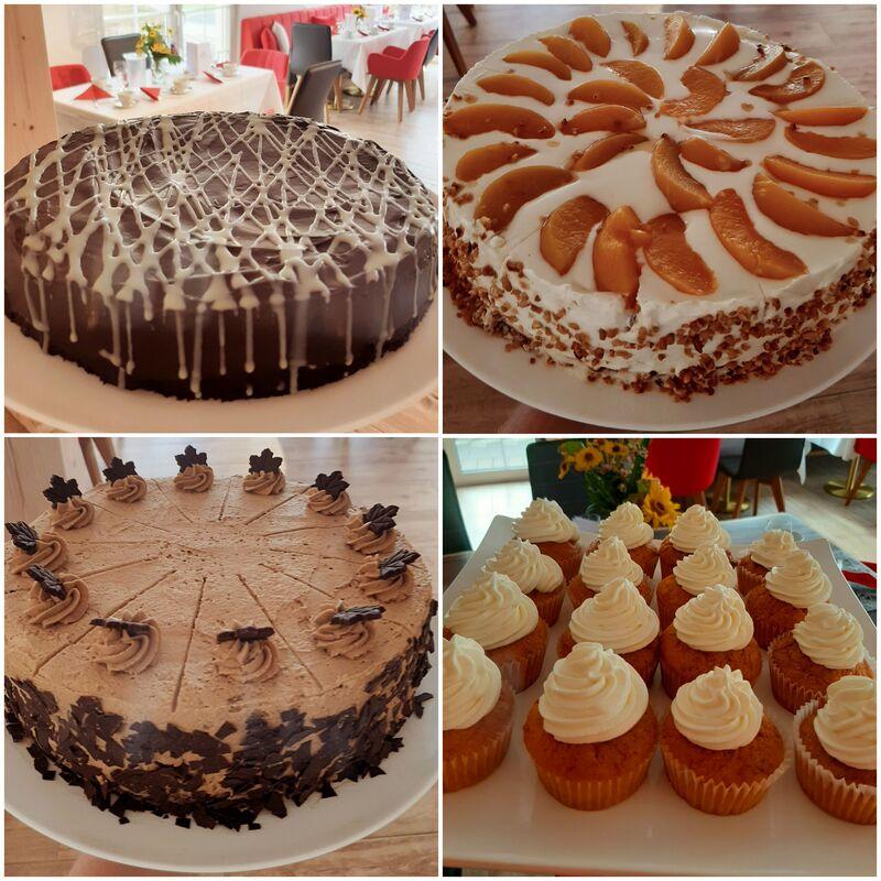 Eigene Herstellung // Schokoladenkuchen // Pfirsich-Quark-Torte // Kaffee-Sahne-Torte// Rübli-Frischkäse-Cupcakes //
