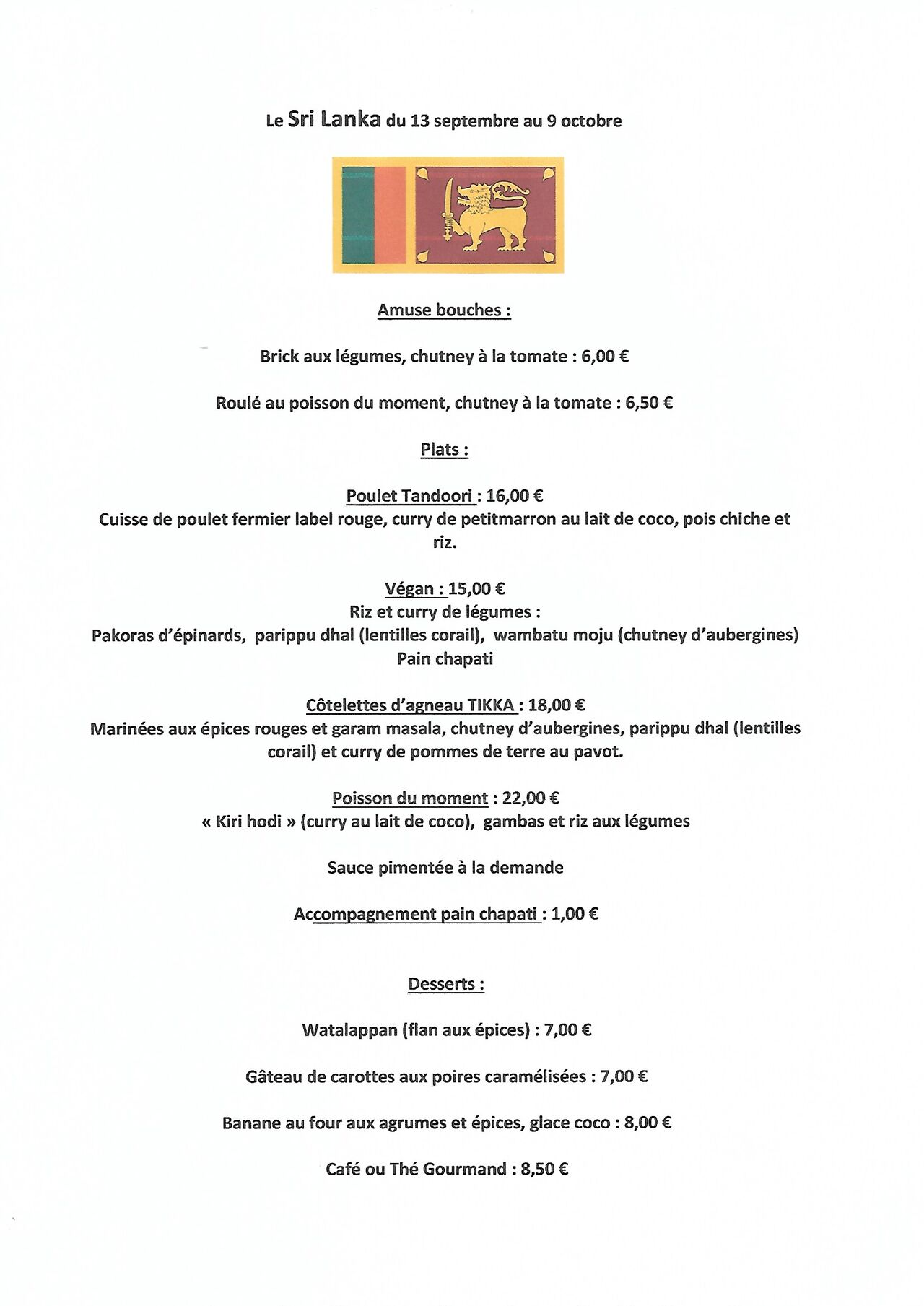 Et voici le menu du Sri Lanka
