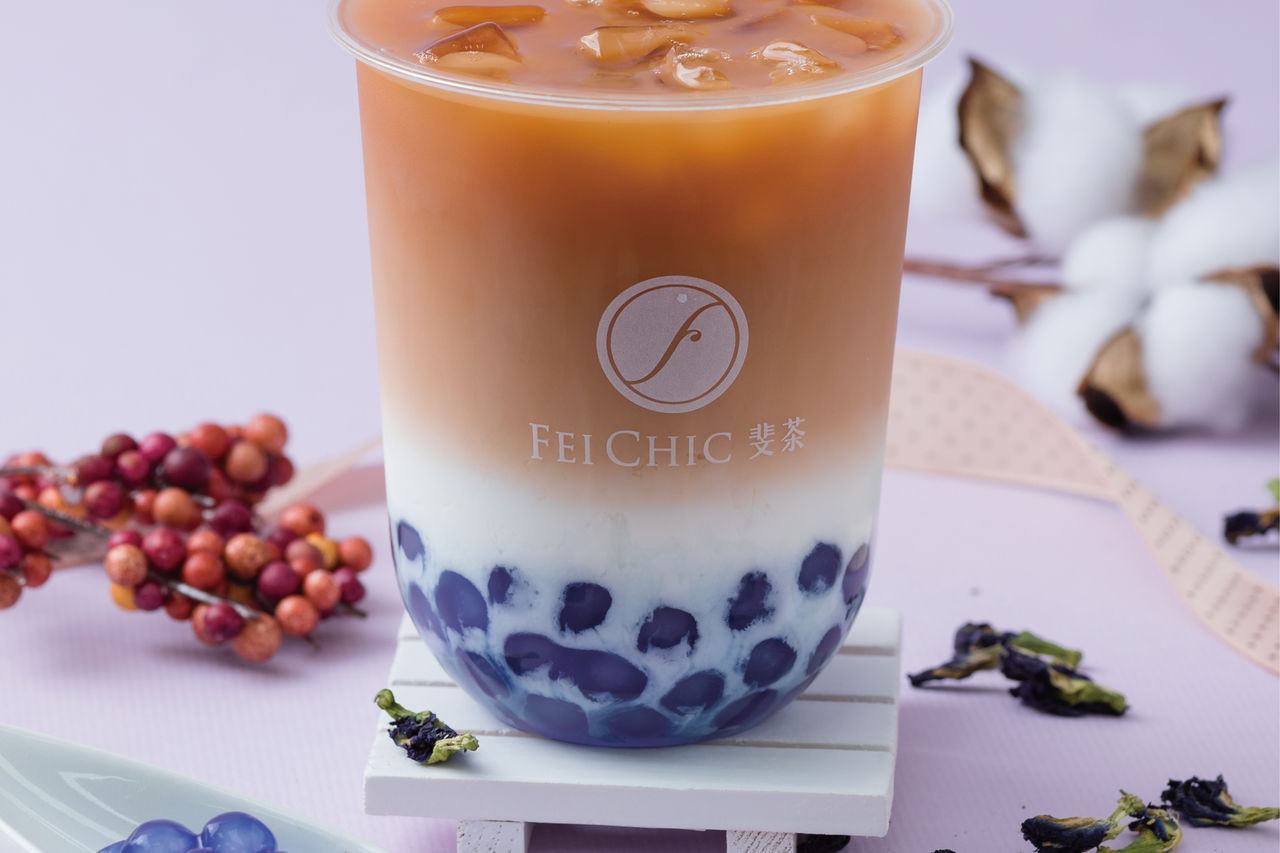 Fei Chic Blue Bubble Honey Black Milk Tea