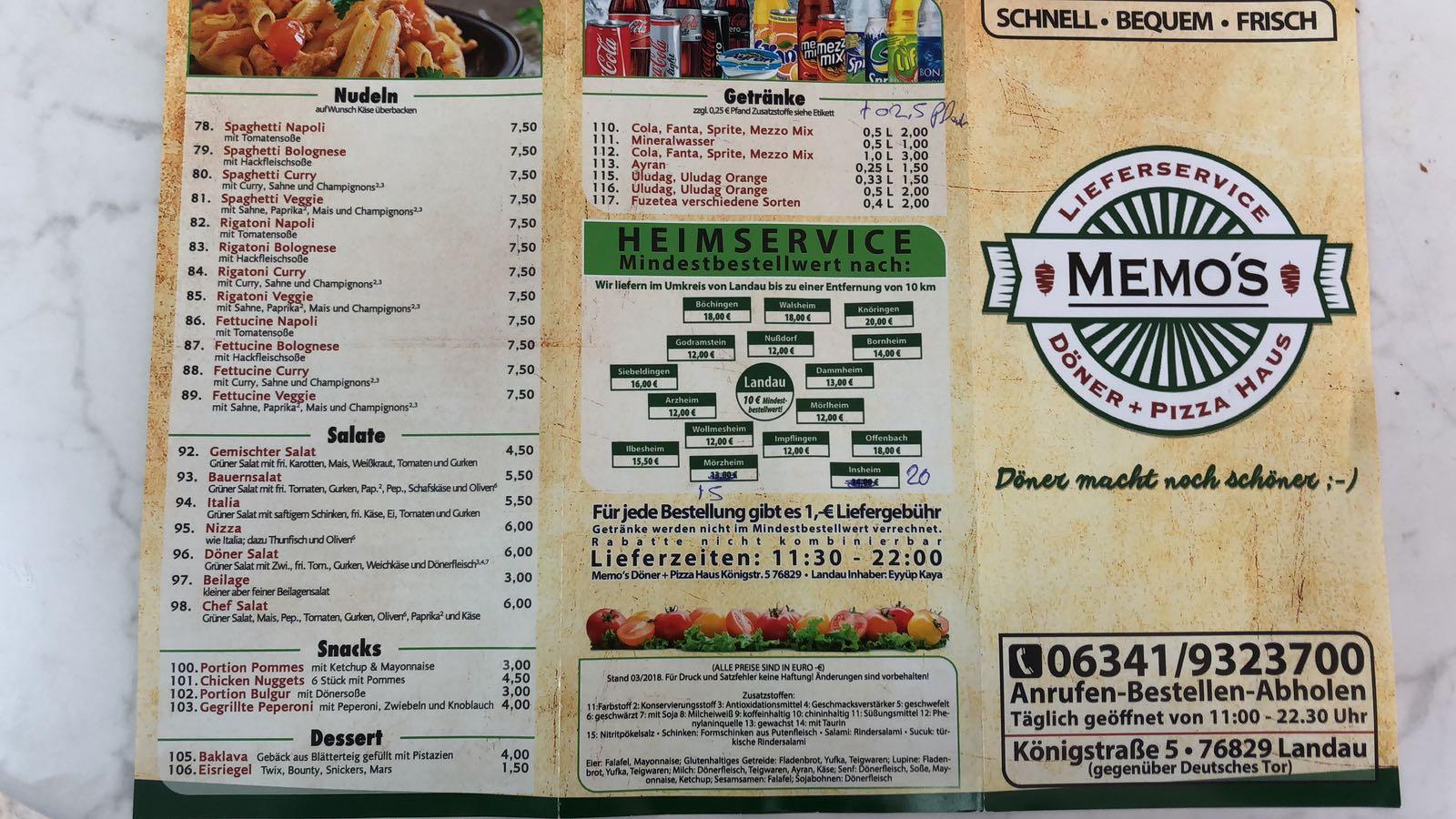 memos döner pizza haus diner landau in der pfalz italian
