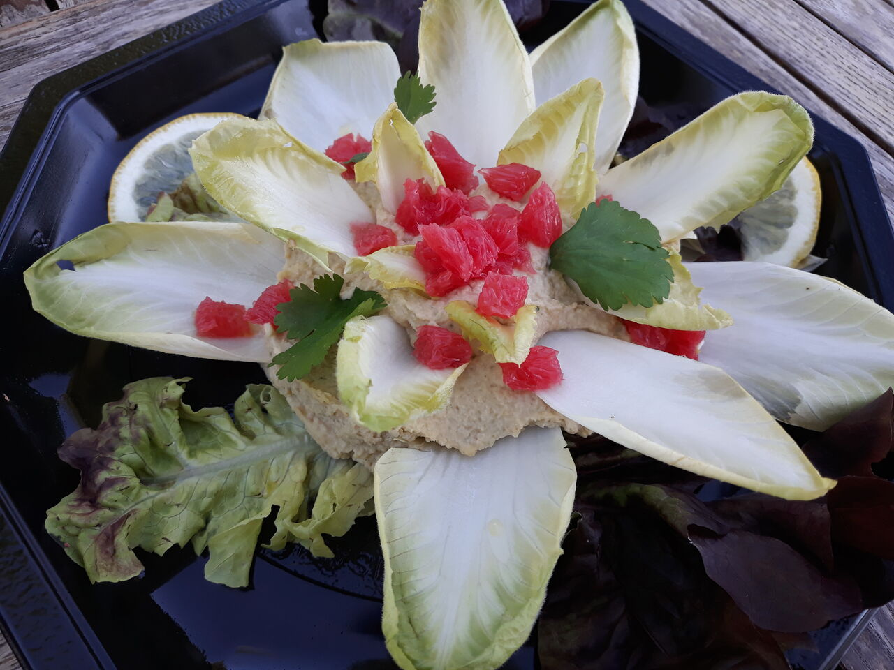 Fleur Nord&Sud : houmous, endives et pomelos