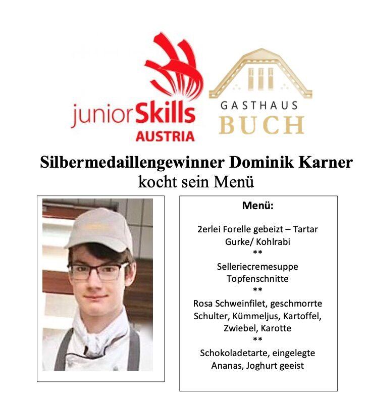 Dominik kocht sein junior skills Menü ( Silbermedaille - Salzburg 2019)