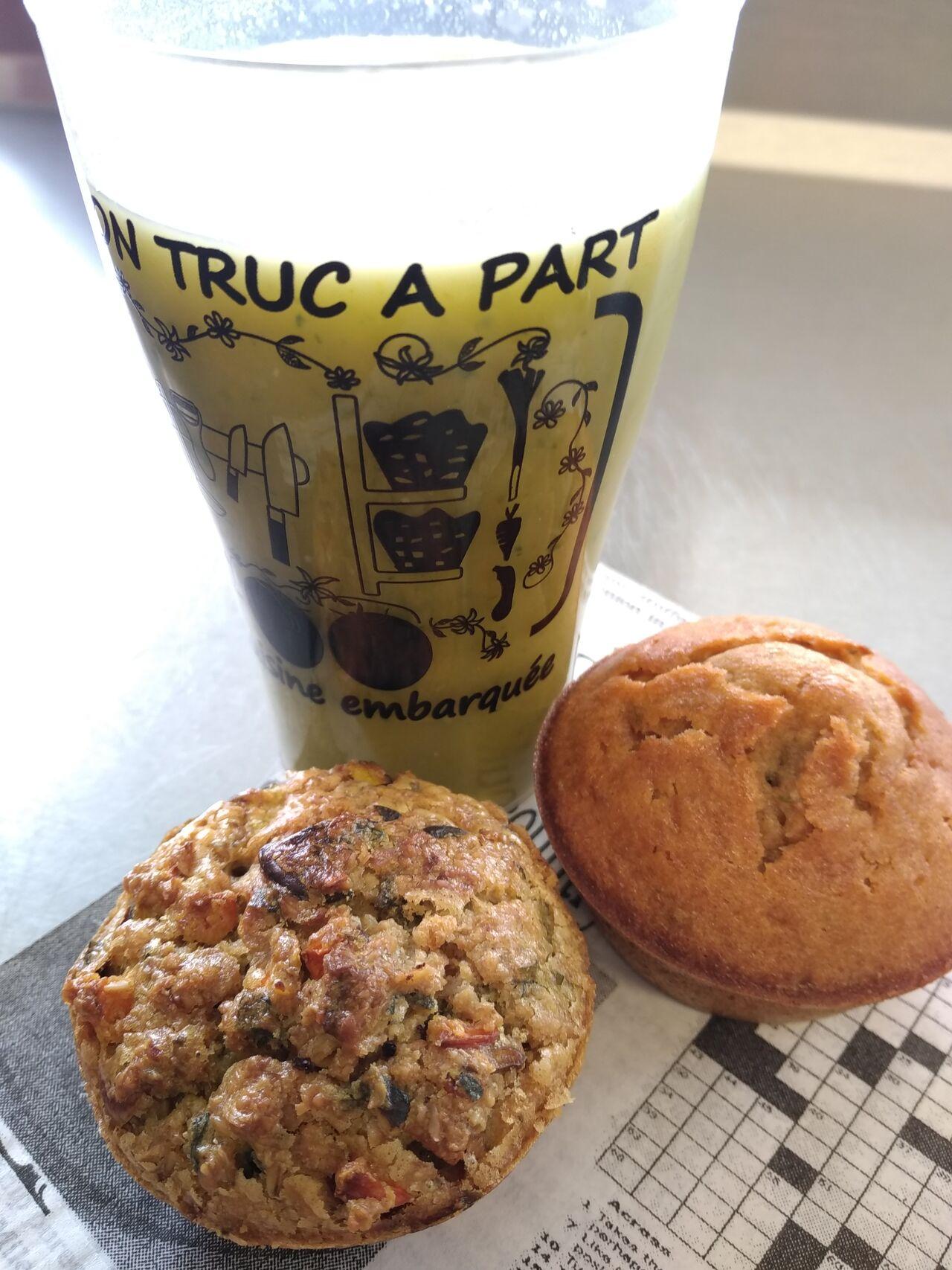Gaspacho, muffin salé et muffin sucré